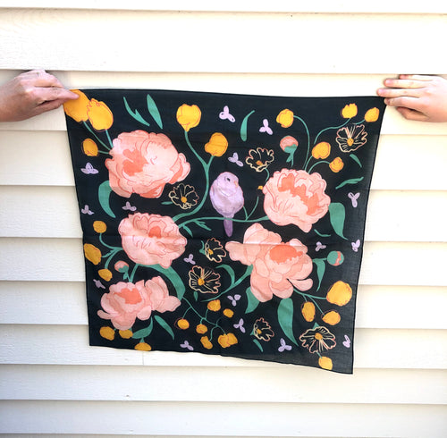 Pre-order, Bird and Flowers small square cotton Scarf || Scarves