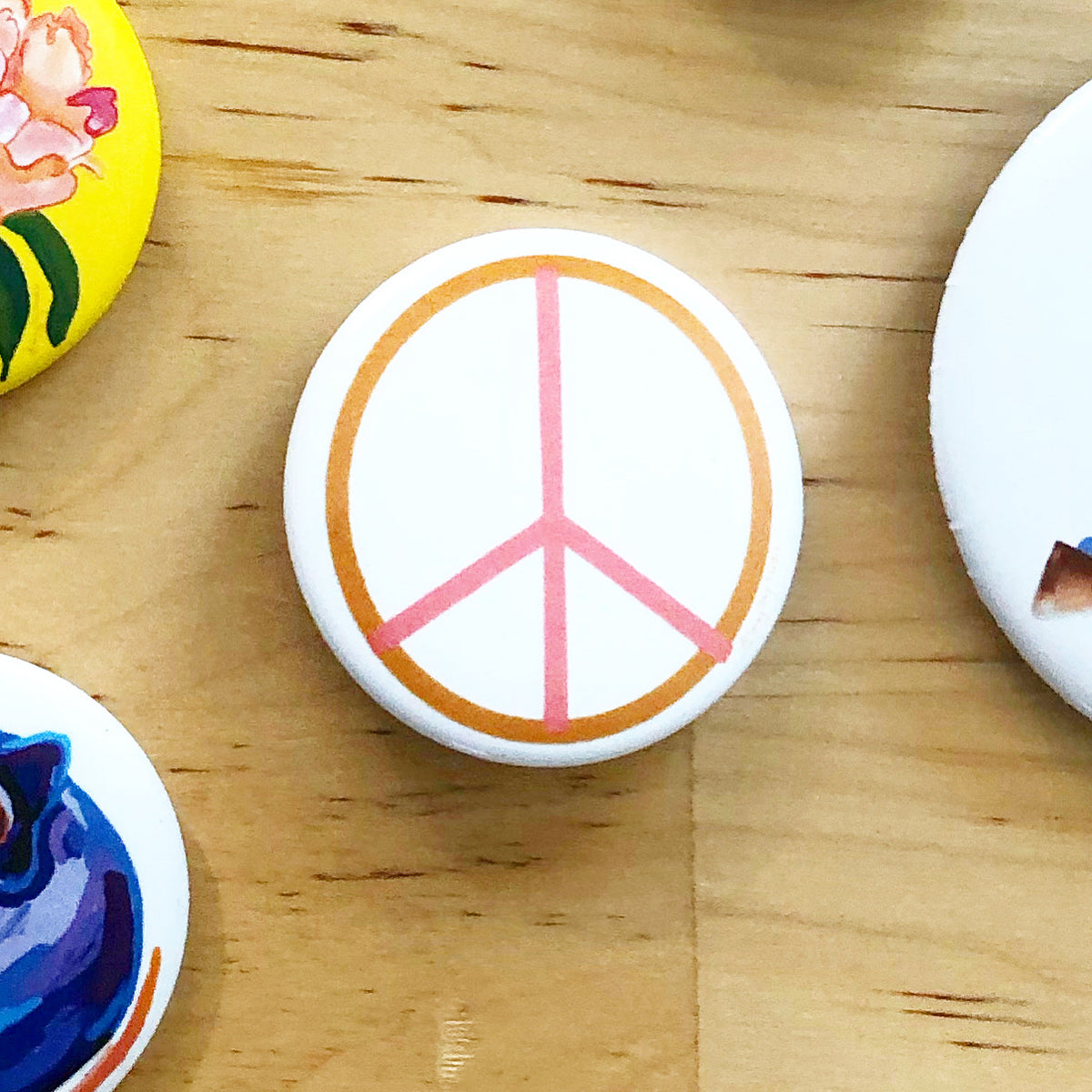 Pink and Ochre Peace Sign, Pin Swag, button- Pins