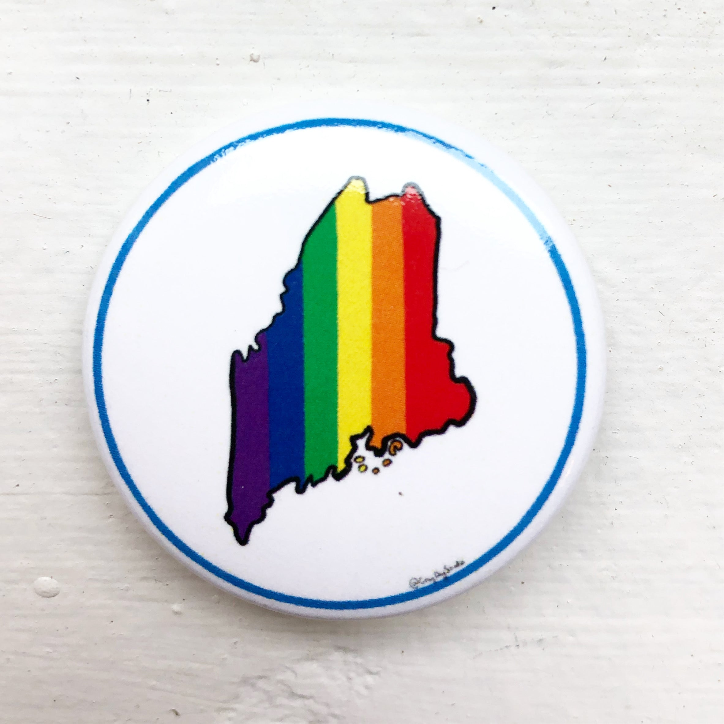 Maine Pride, state of Maine Rainbow pride, political activist Swag, pin- Pins