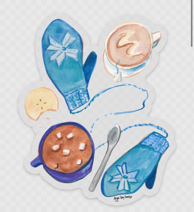 Winter Mittens and Hot Cocoa sticker - Stickers & Magnets