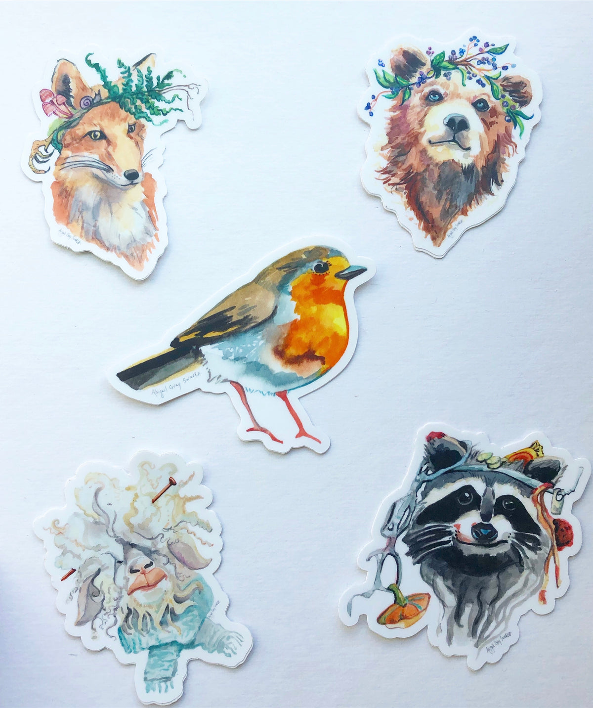 Five Animal Portrait Stickers - Bear, Sheep, Raccoon, Fox, Robin - Stickers & Magnets