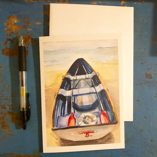 Rowboat, nautical seaside inspired 5x7 greeting card