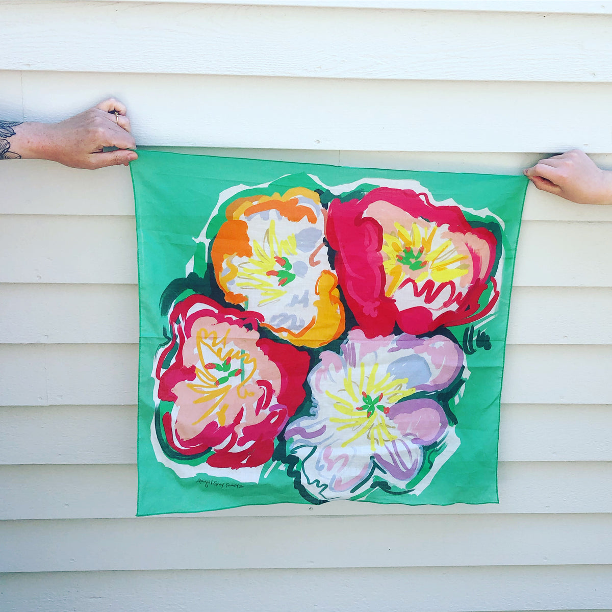 Peonies small square cotton Scarf || Scarves