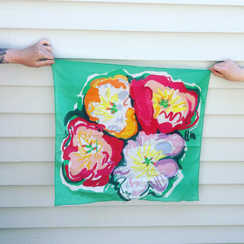 Pre-order, Peonies small square cotton Scarf || Scarves