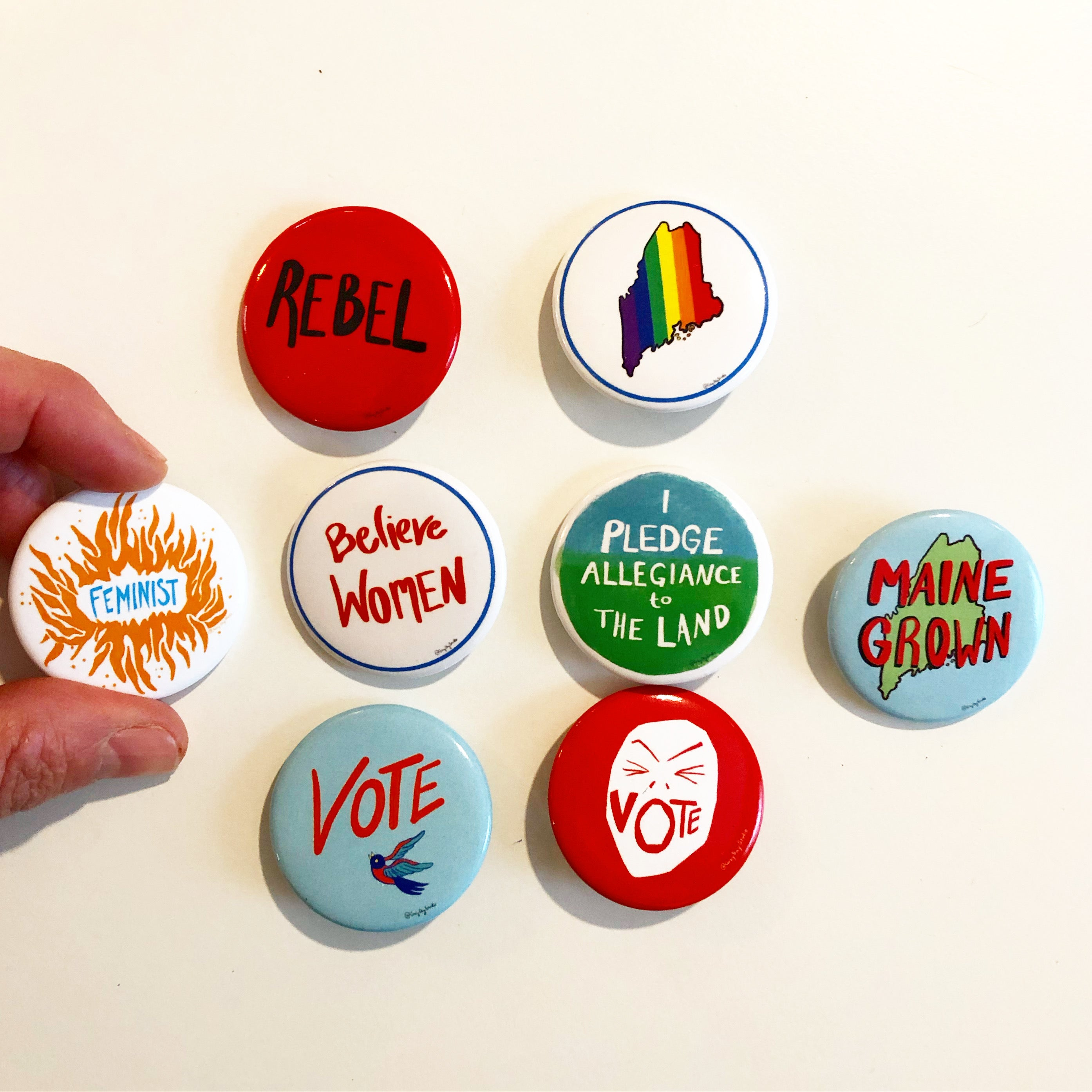 Maine Grown, state of Maine home town pride, political activist Swag, pin- Pins