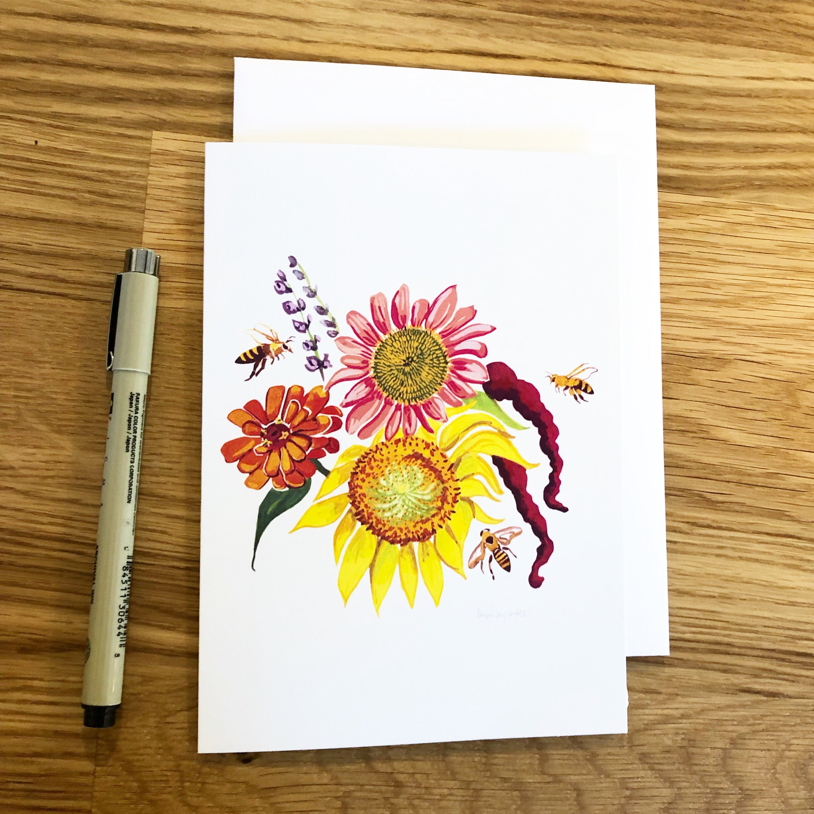 August Bouquet, sunflower, echinacea and bees -Greeting Card