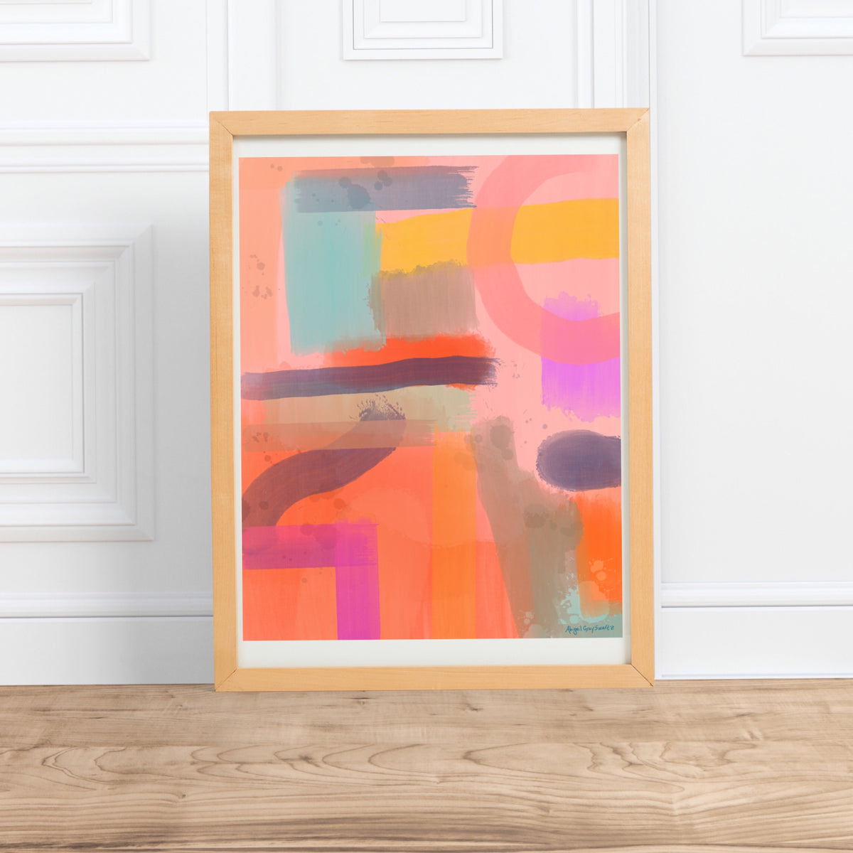 Pink Abstract painting Print, digital painting --Print