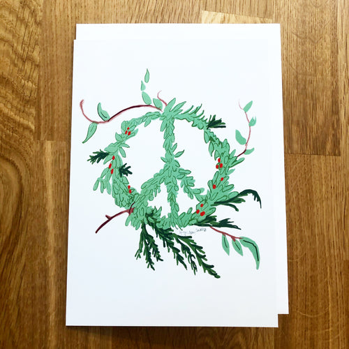Peace Wreath, Winter card, Holiday greeting card