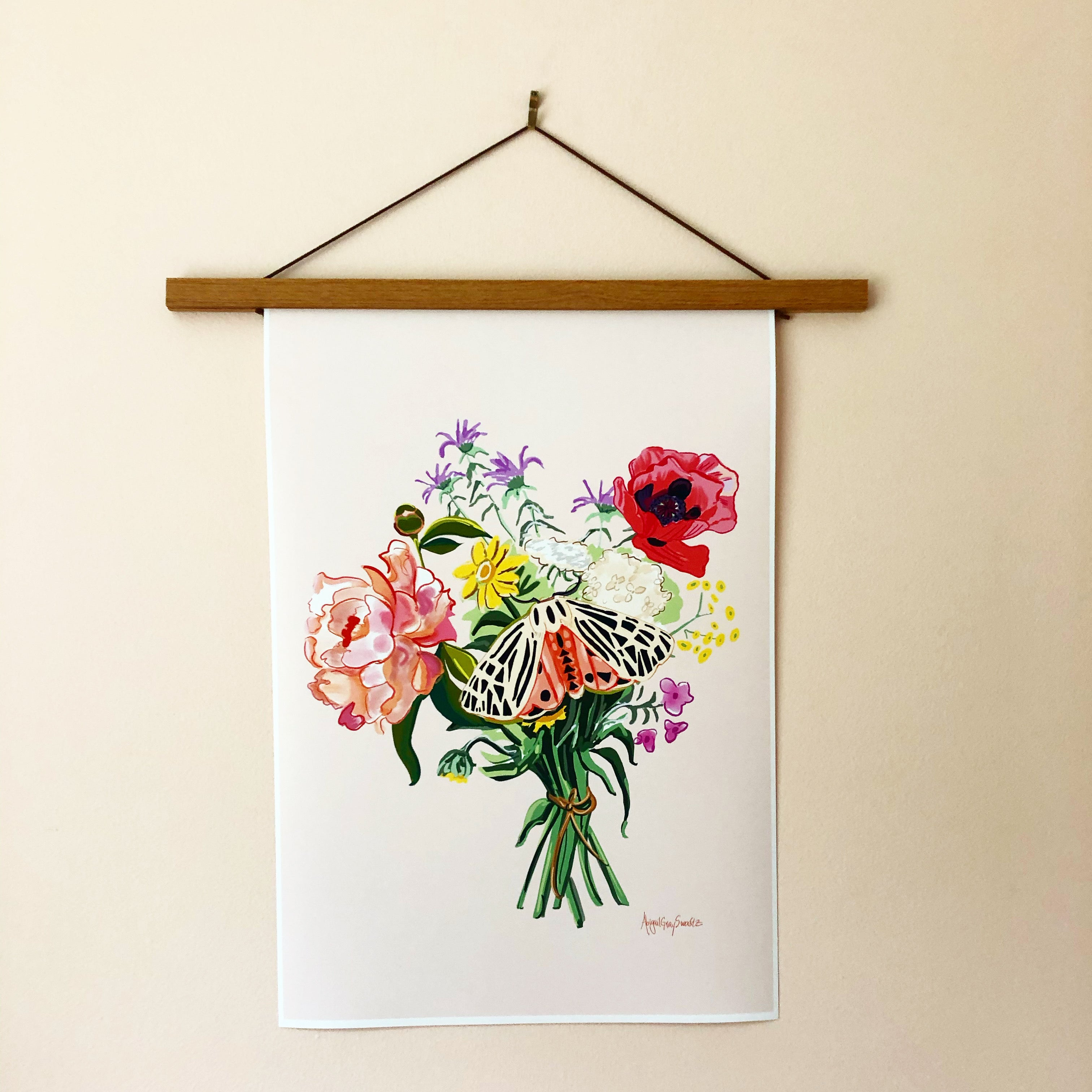 Wildflower Bouquet with moth, digital painting Large print --Print