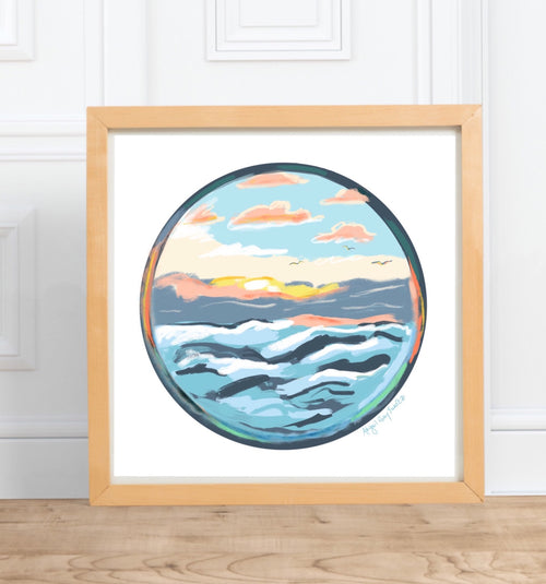 Coastal Sunrise || digital watercolor, seaside painting --Print