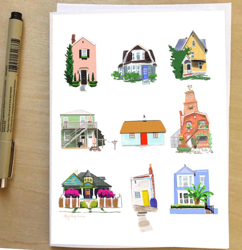Little Houses, architecture, colorful card--Greeting Card