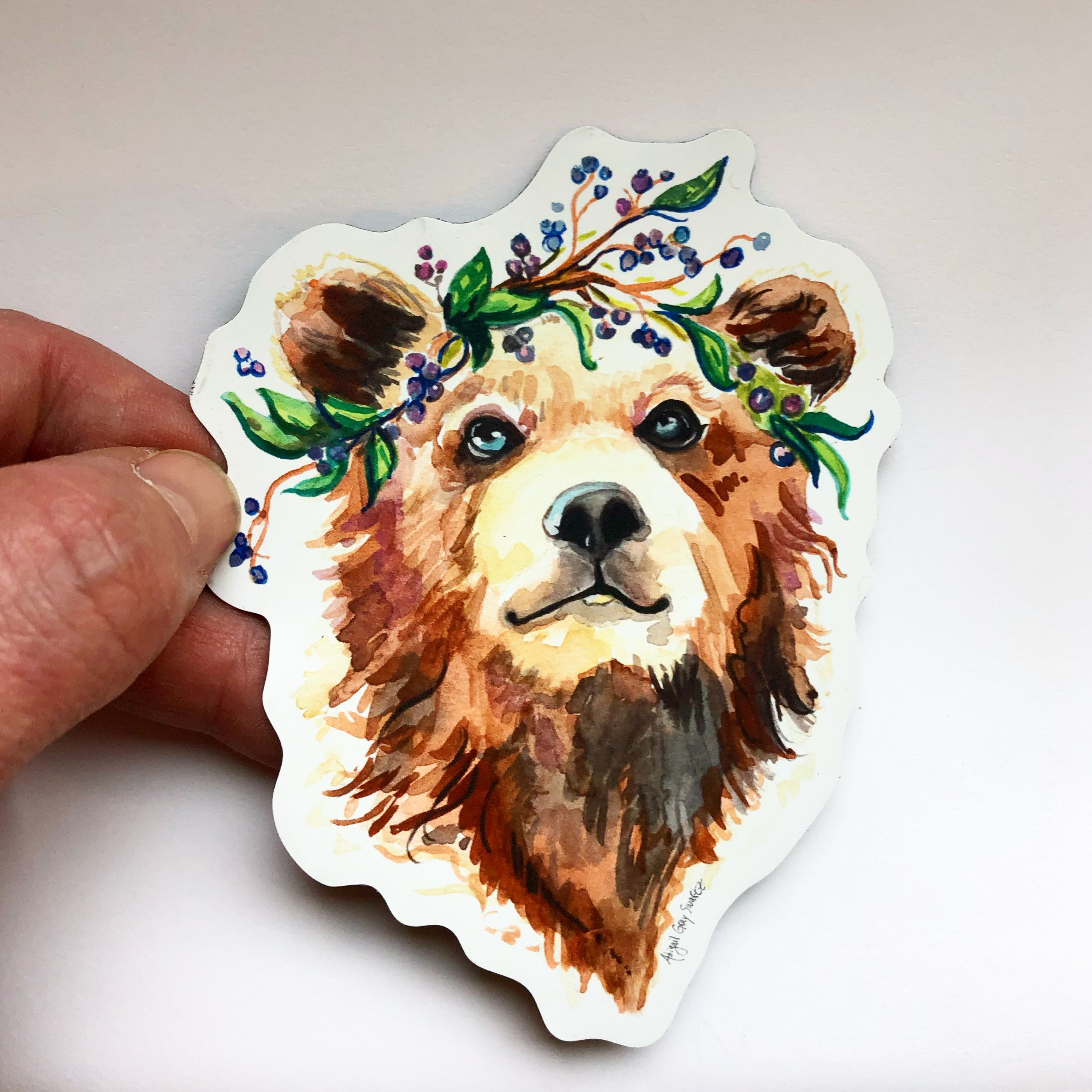 Bear in Blueberries Magnet- Stickers & Magnets