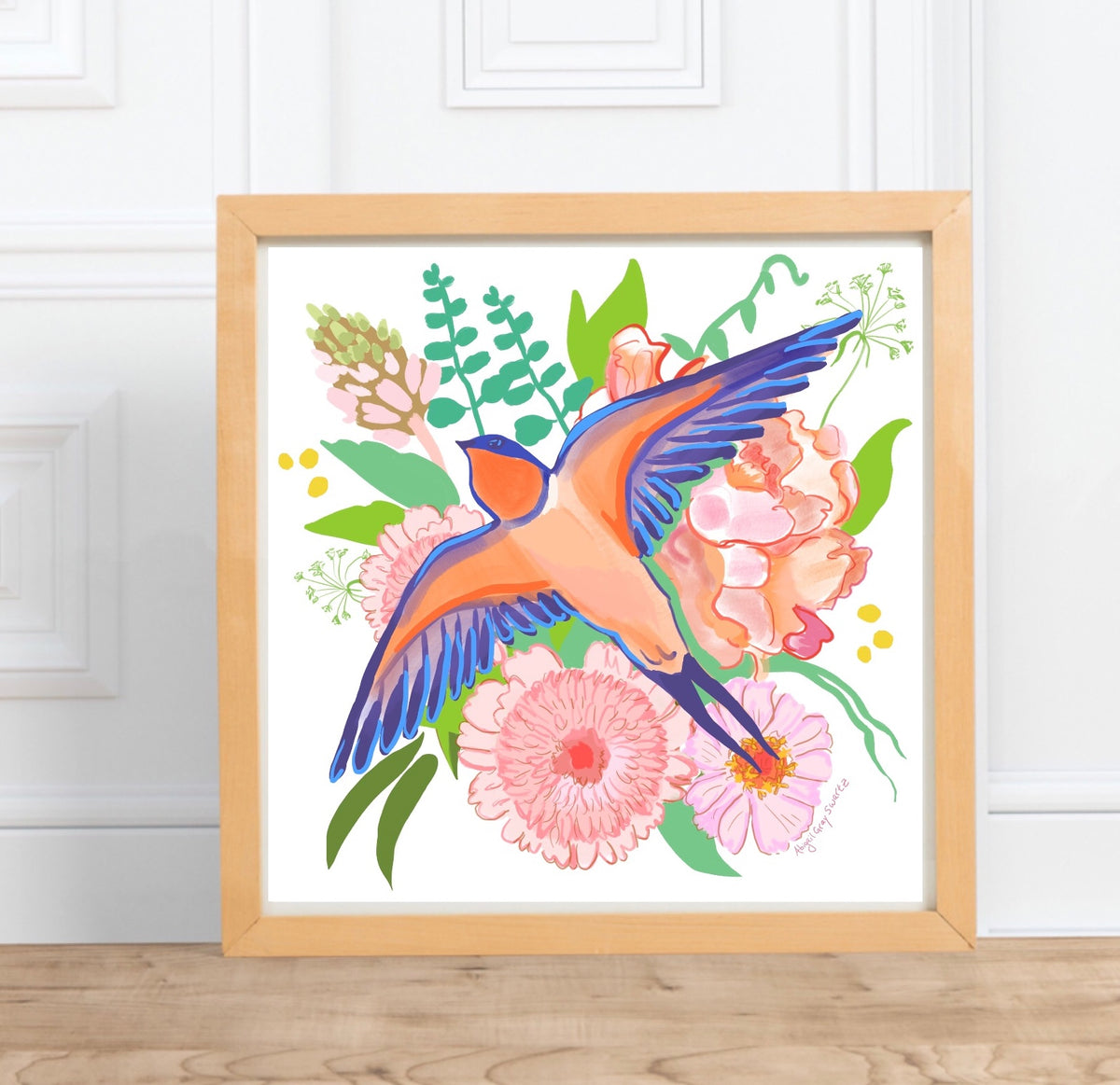Swallow and Flower Print, art print, illustration artwork painting, barn swallow || digital watercolor painting --Print