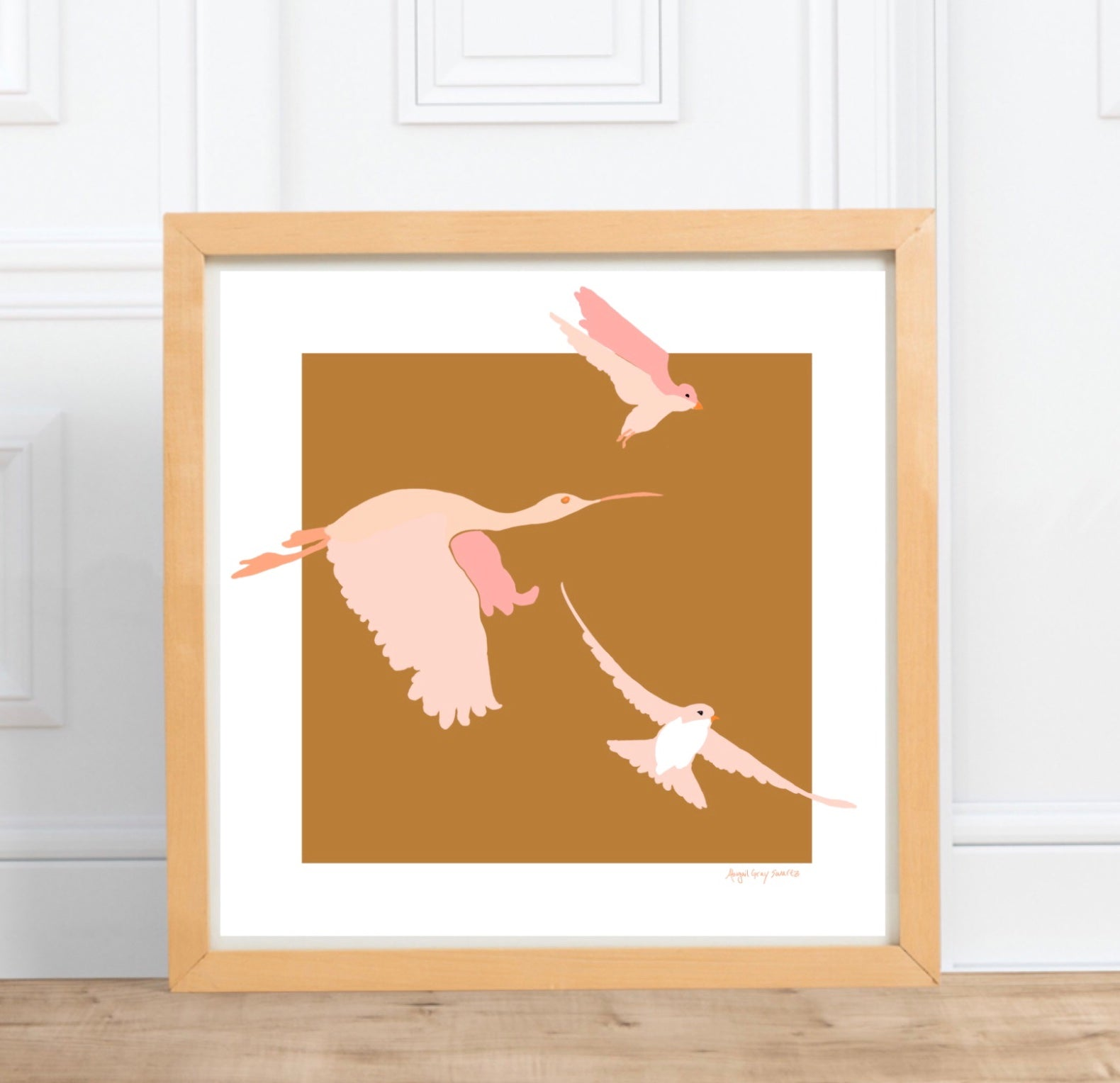 birds flying, pink birds, baby room decor, gallery wall art, bird print, bird art, bird artwork