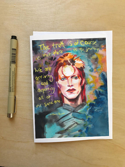 David Bowie Portrait, quoted greeting card--Greeting Card