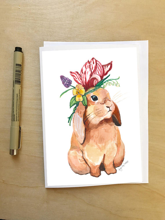 Bunny in a Flower Crown--Greeting Card