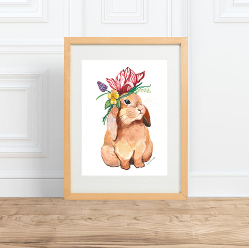 Bunny In Flower Crown, watercolor animal portrait--Print