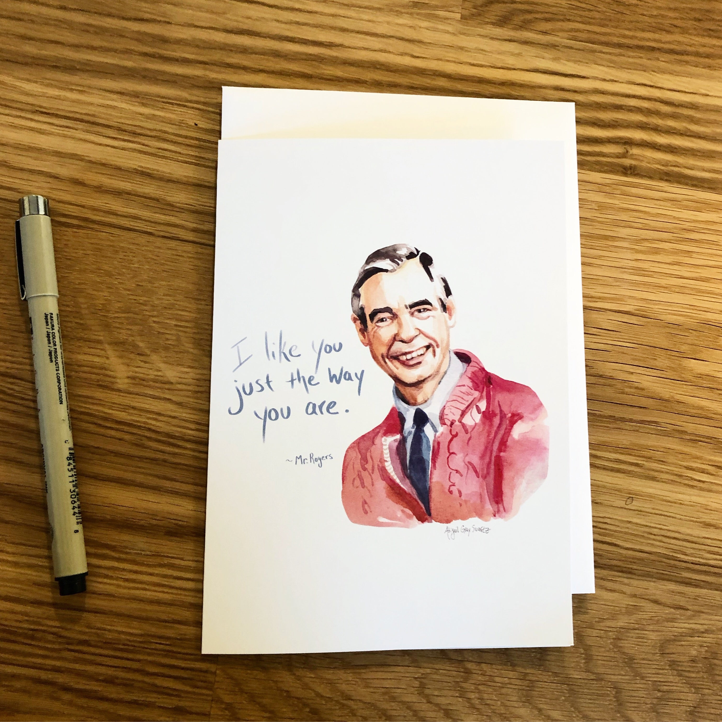 I like you just the way you are. Mr Rogers Portrait--Greeting Card
