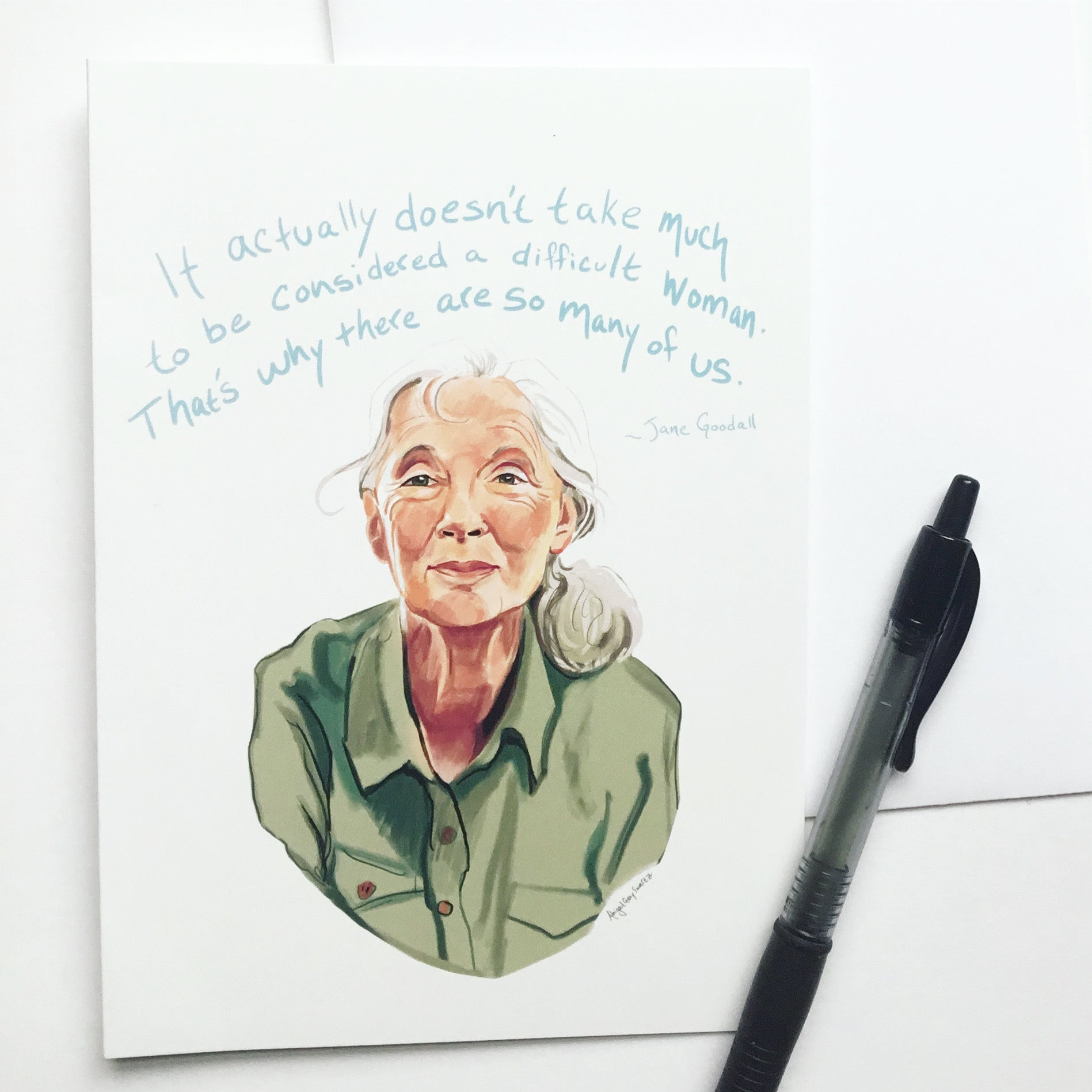 Jane Goodall, portrait card and quote- difficult women --Greeting Card