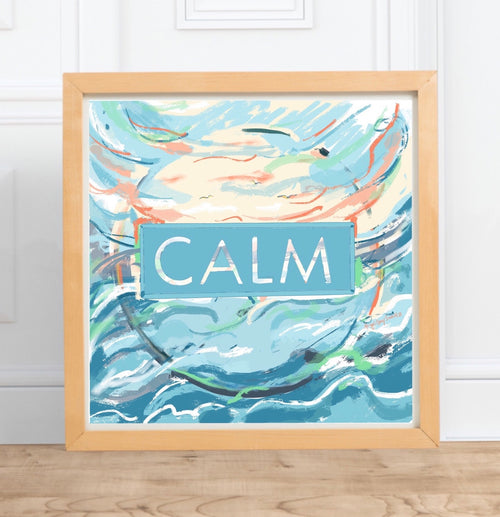 Calm || digital watercolor, motivational seaside painting --Print