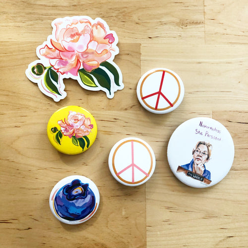 Red and Ochre Peace Sign, Pin Swag, button- Pins