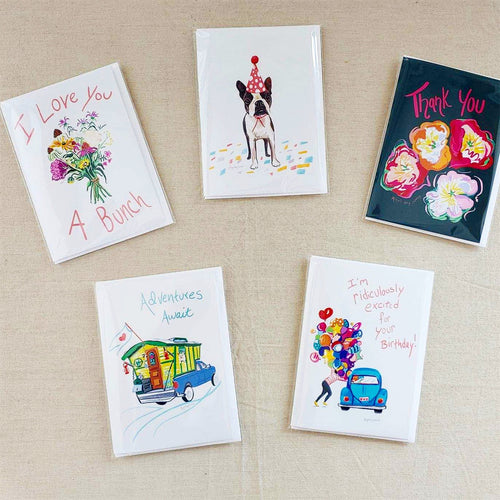 Set of 5 occasion cards: Birthday Pup, Excited birthday, thank you, adventure, love --Greeting Card