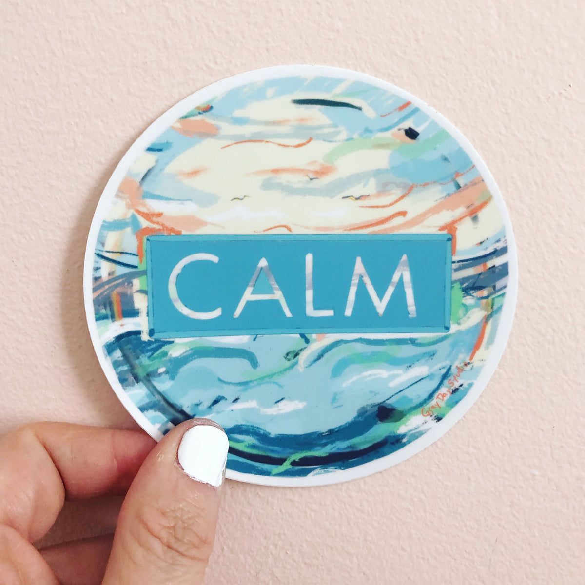 CALM STICKER, ocean inspired hand lettered sticker - Stickers & Magnets