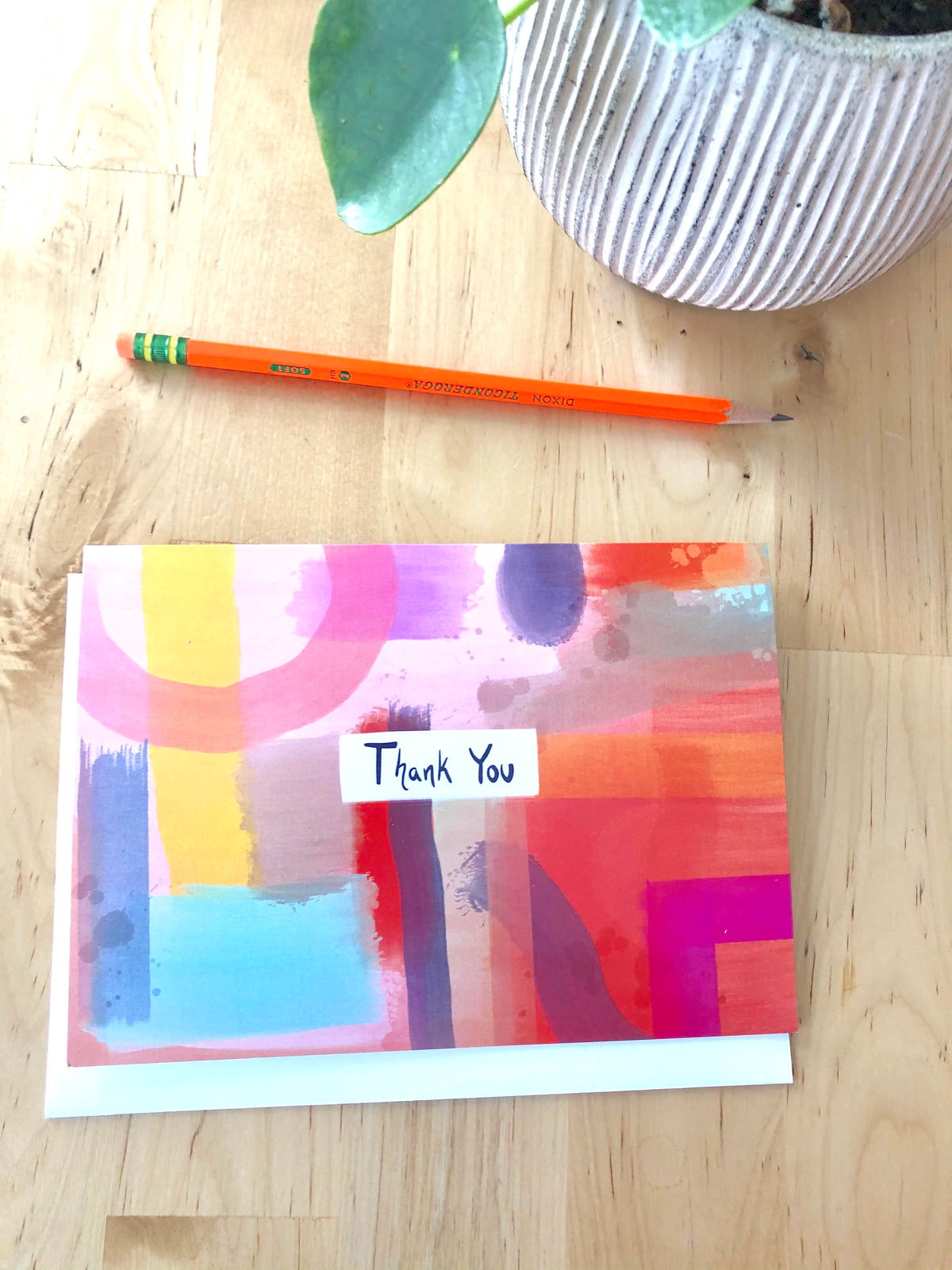 Colorful Thank You Greeting Card, Abstract colorful painting --Greeting Card