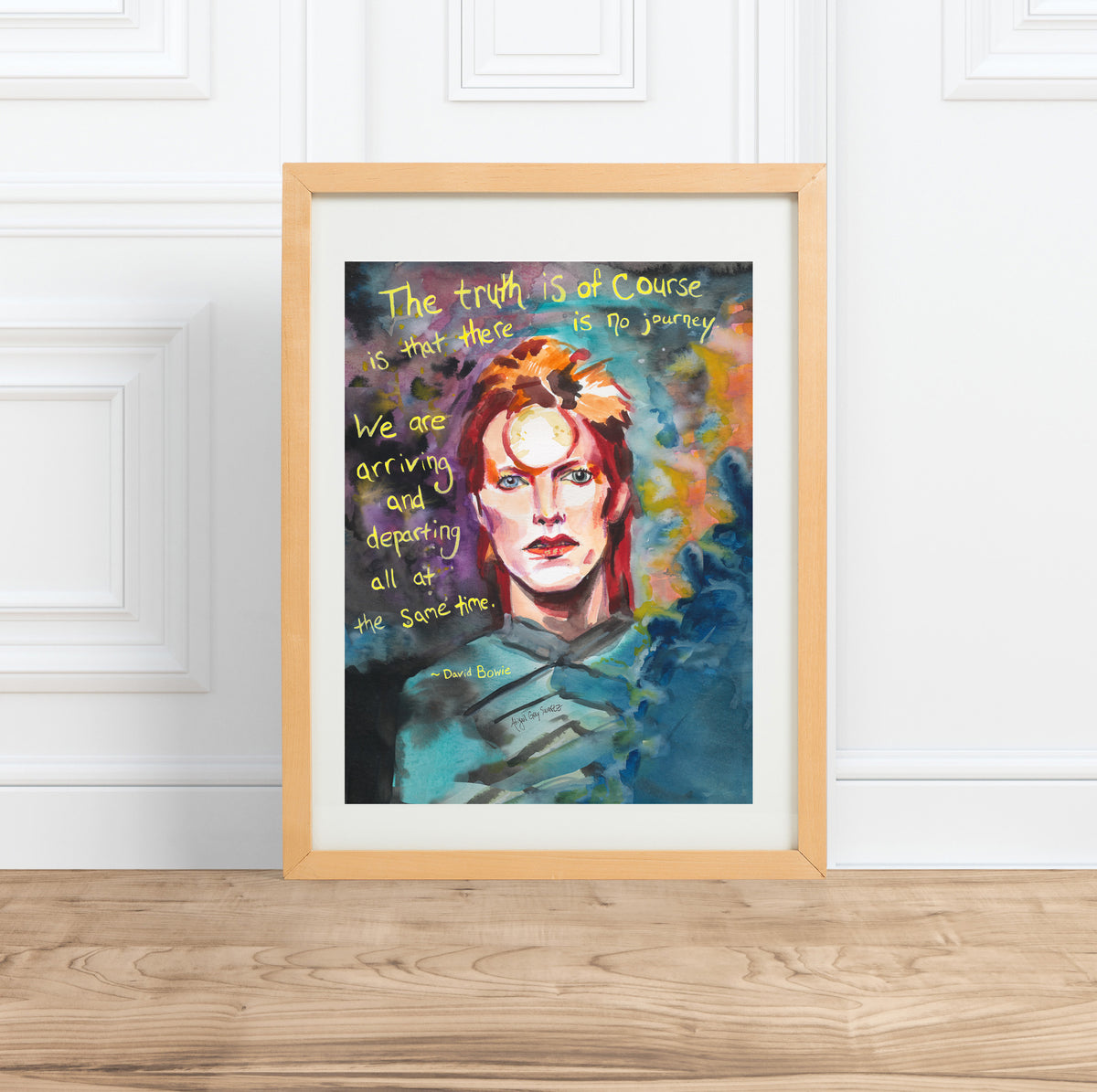 David Bowie || Ziggy Stardust portrait & inspiring quote--Print