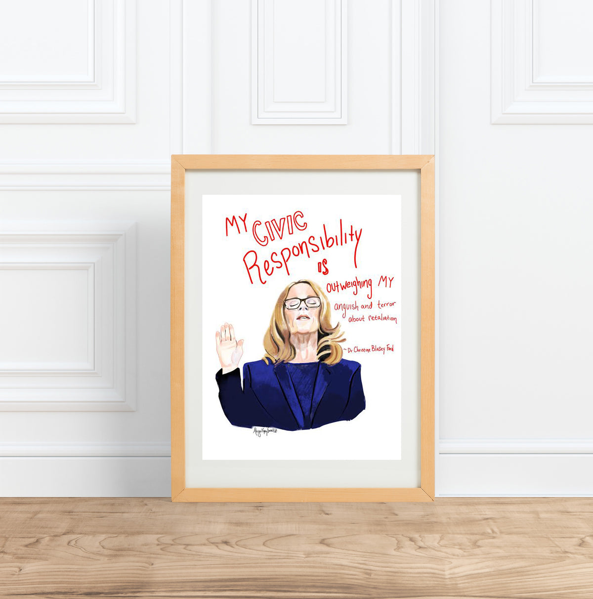 Dr. Christine Blasey Ford Portrait || Civic Responsibility quote--Print