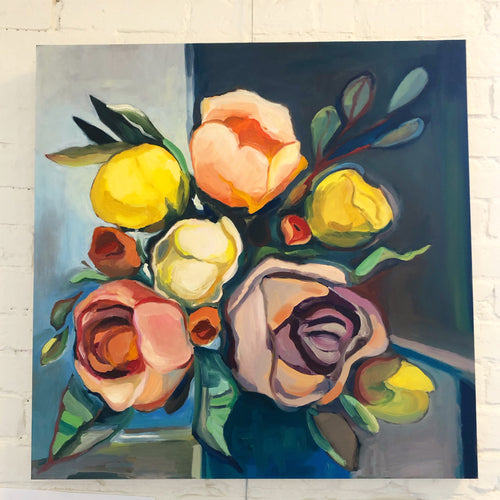 Peonies and Roses, oil painting, flowers, botanical art--Original Painting