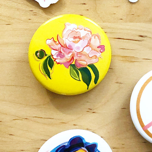 Peony Duo, Floral Pin Swag, button- Pins
