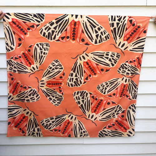 Pre-order Tiger Moth, large square cotton Scarf || Scarves
