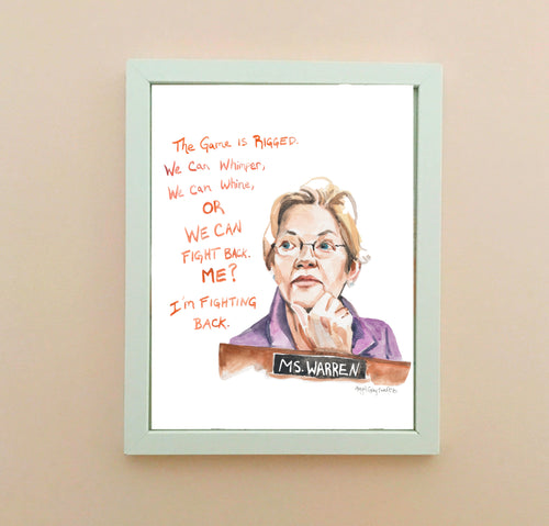 Elizabeth Warren, inspiring quote and portrait--Print