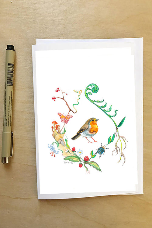 English Robin, in a floral wreath, woodland card--Greeting Card