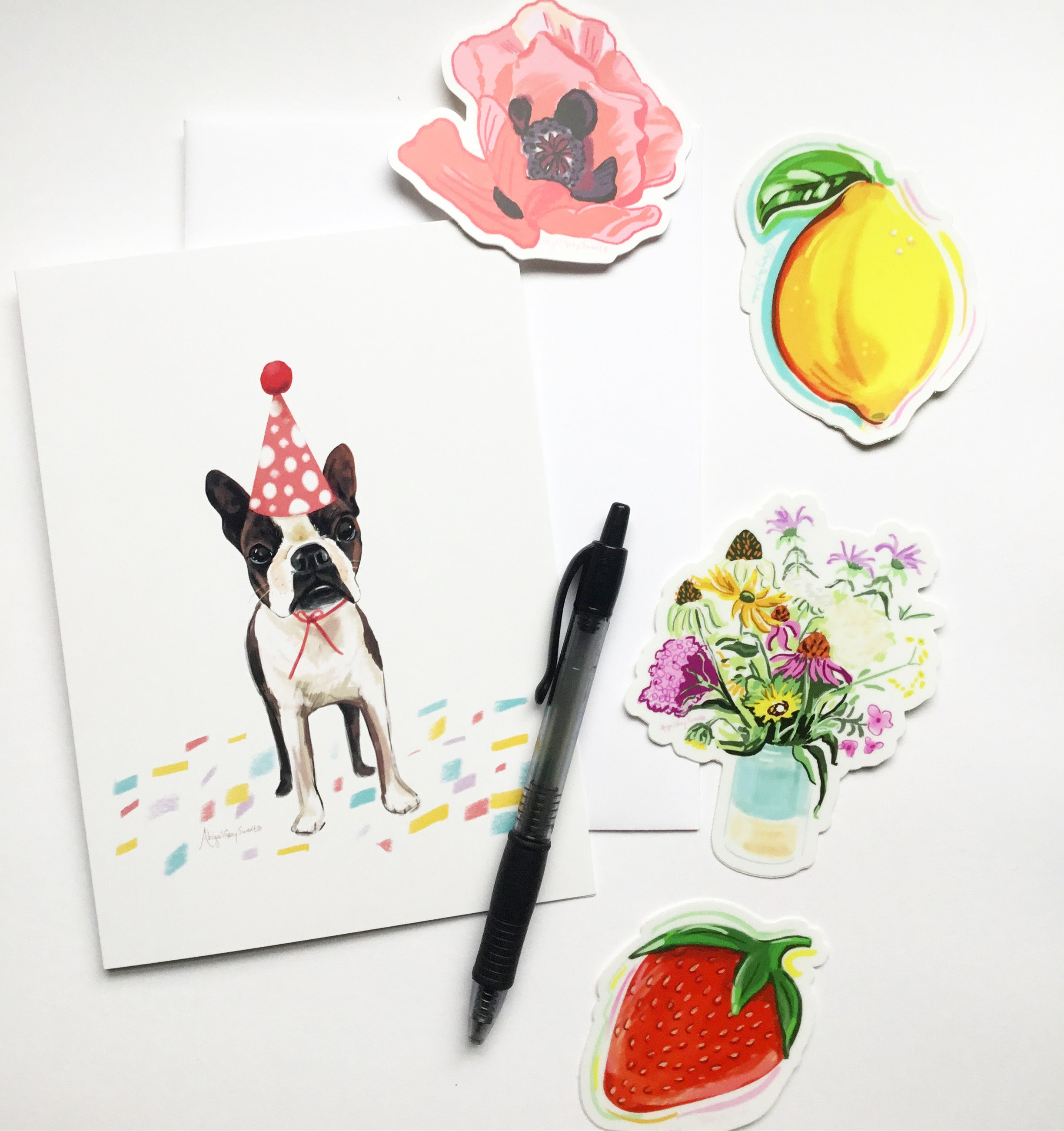 Care package: 1 greeting card and 4 stickers -Greeting Card