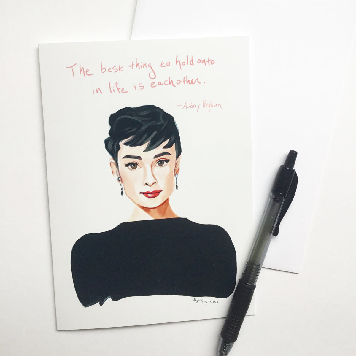 Audrey Hepburn, portrait card and inspiring quote --Greeting Card