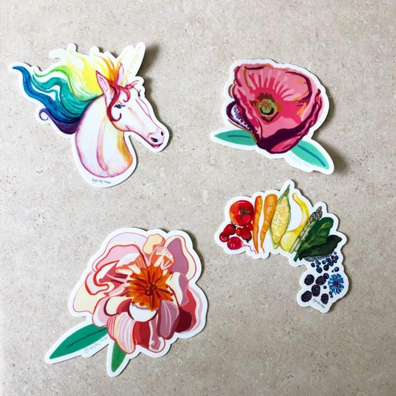 Rainbow unicorn, portrait, STICKER - Stickers & Magnets