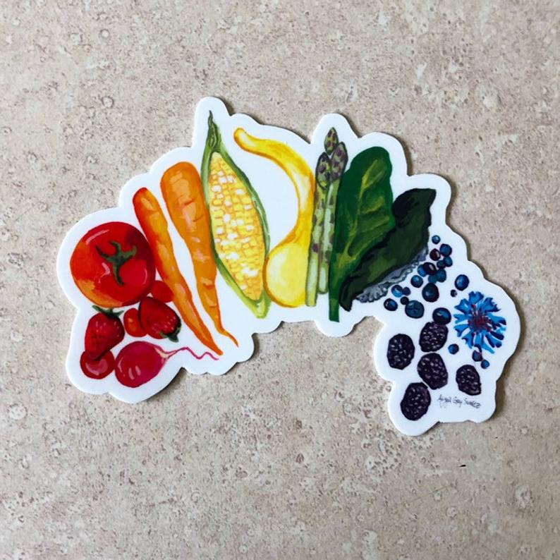 Food Rainbow, veggies and fruits, healthy, STICKER - Stickers & Magnets