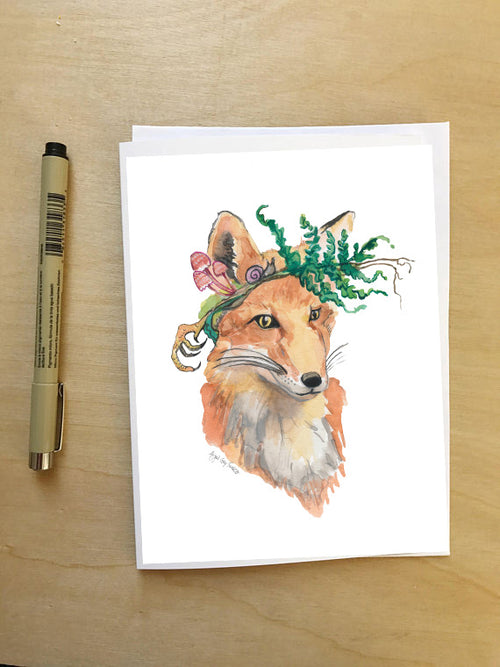 Foraging Fox--Greeting Card