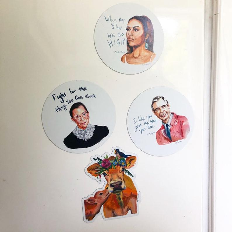 AOC, Change Takes Courage - MAGNET, inspiring quote- stickers & magnets