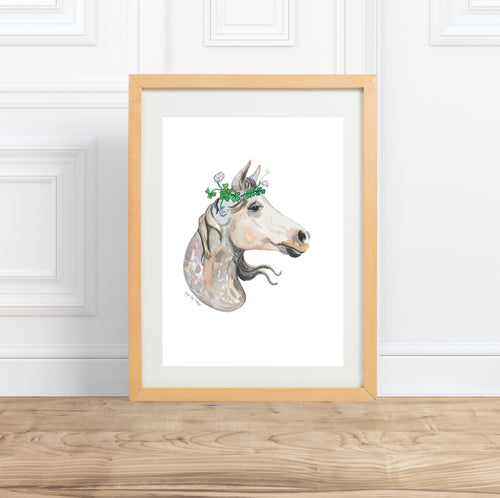 Horse in Clover, watercolor animal portrait--Print