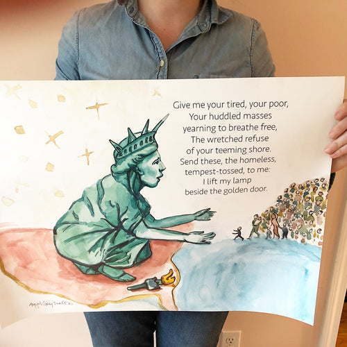 Poster All Are Welcome, Lady Liberty welcomes the refugees--Print