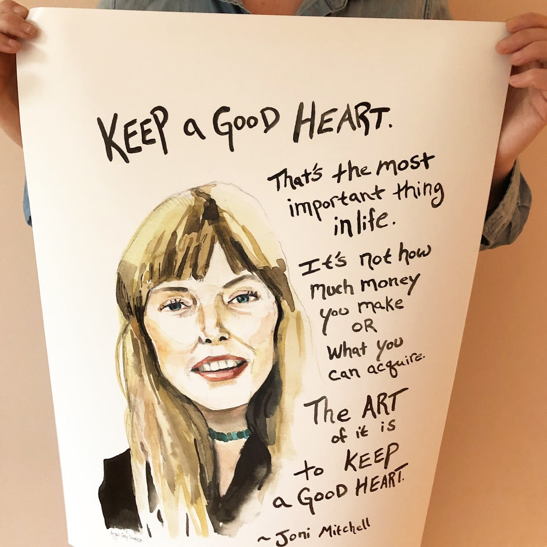 Joni Mitchell, inspiring quote, large poster--Print