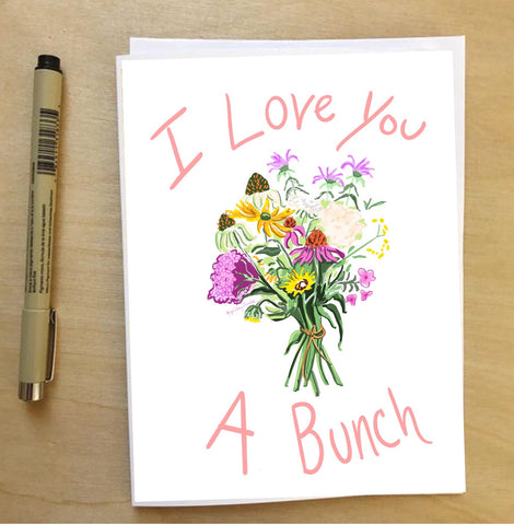 Bringing Home Flowers--Greeting Card