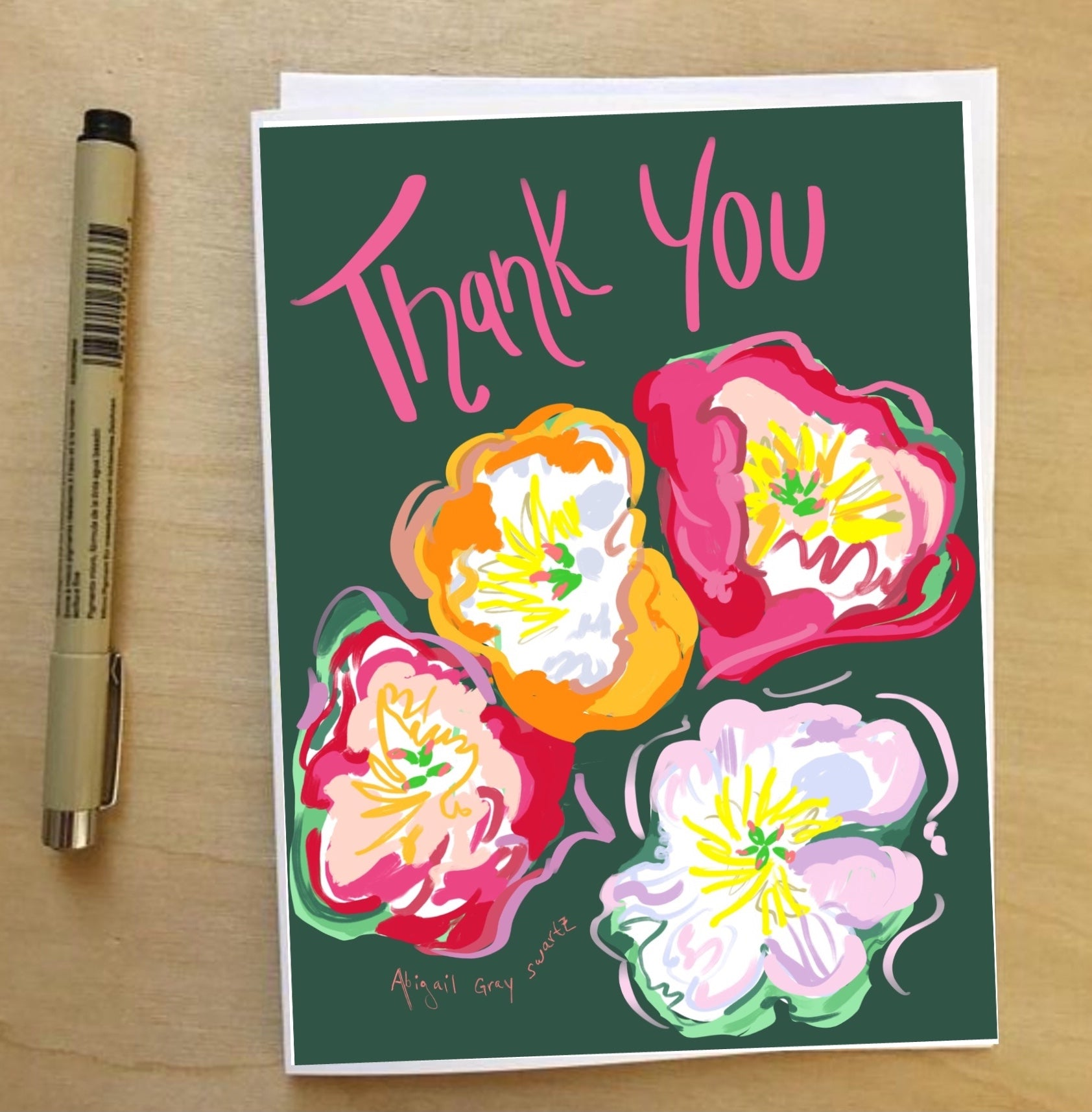 Thank You, peonies --Greeting Card