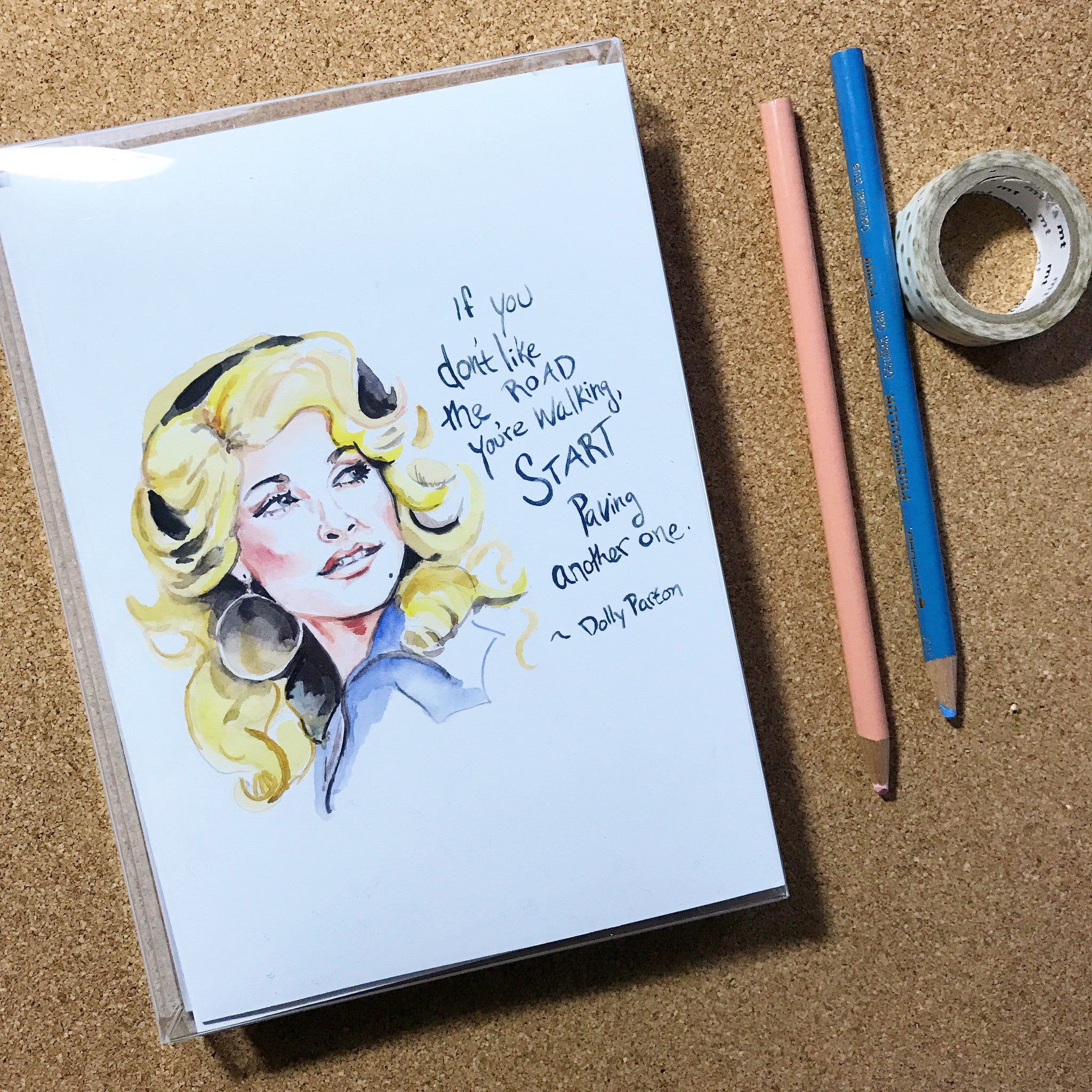 Set of 10 Inspiring Dolly Parton Portrait, greeting cards (or lady of your choice)