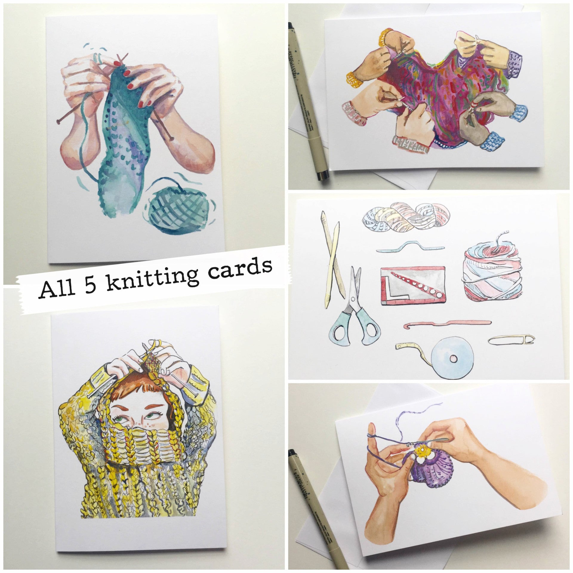 Knitting Introvert--Greeting Card