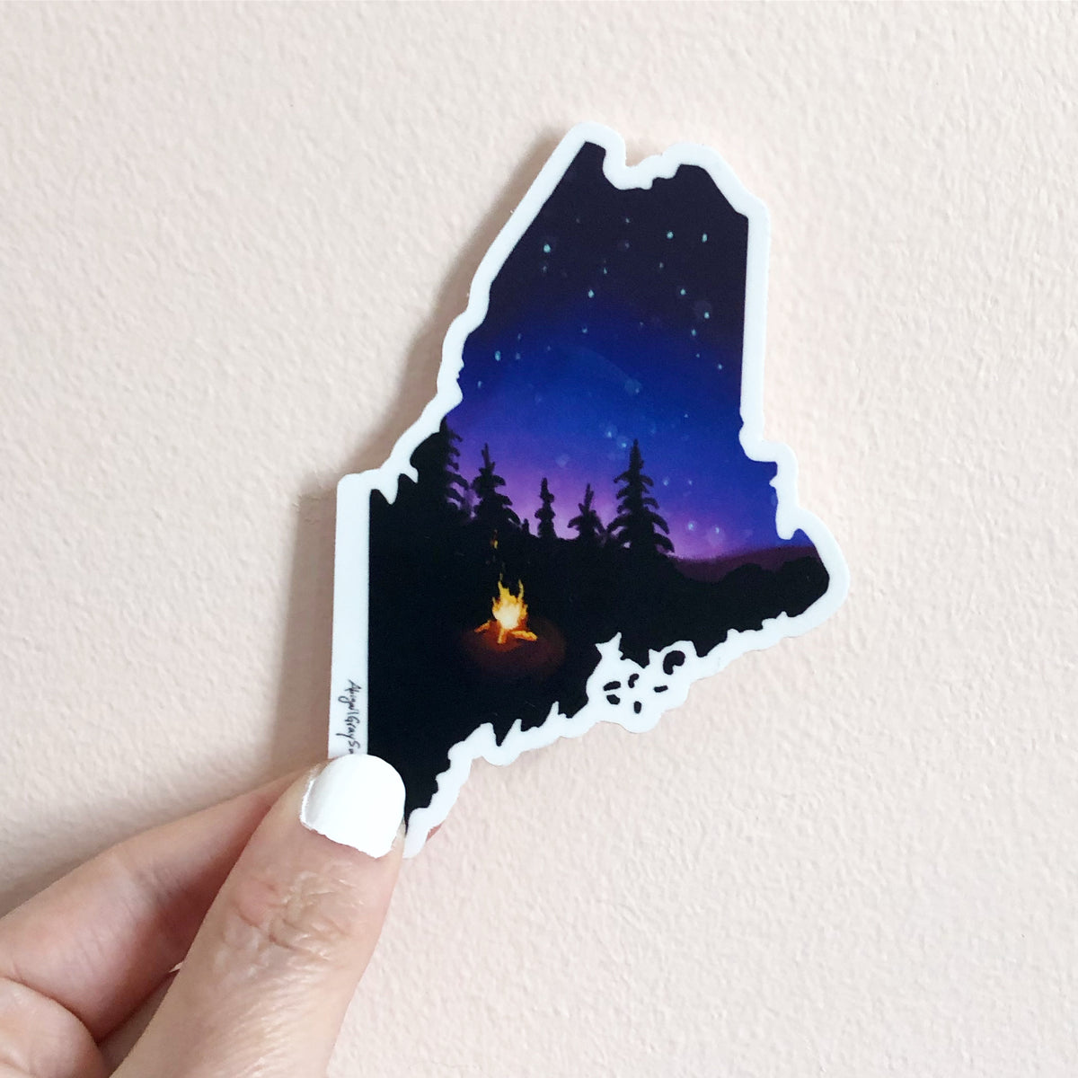 Maine night sky sticker, state of Maine shaped STICKER - Stickers & Magnets