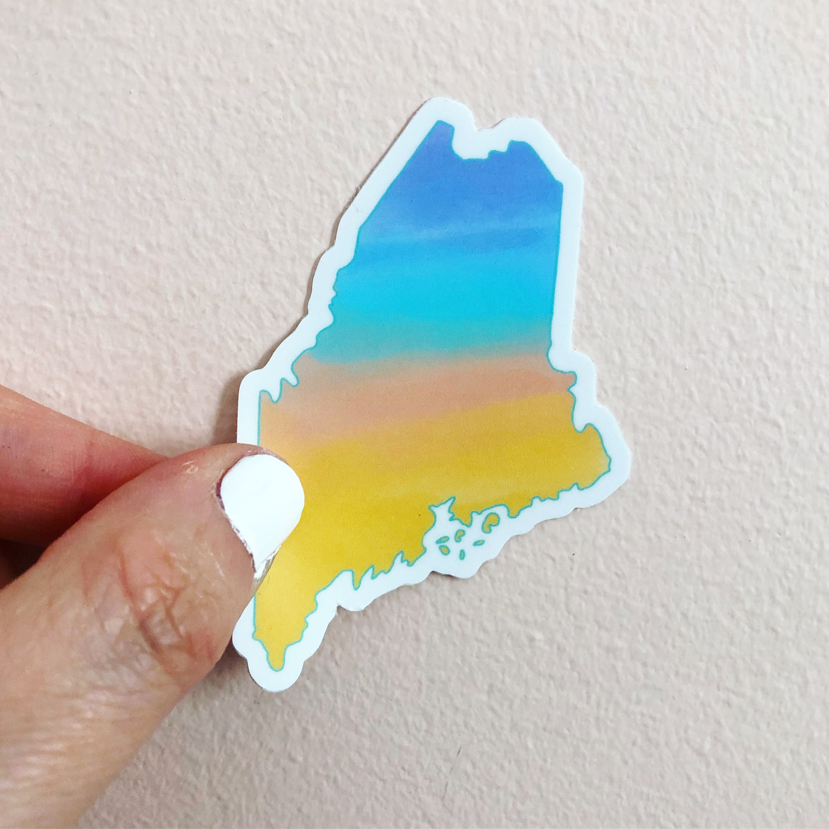 Maine sunset sticker, state of maine sticker, by Abigail Gray Swartz